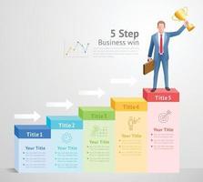 5 Schritte zum Business Win-Konzept. Geschäftsmann Mann, der Goldtrophäe auf Infografiken steht und hält. vektor