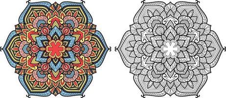 Doodle Mandala Malbuch Seite für Erwachsene und Kinder. vektor