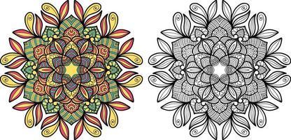 Doodle Mandala Malbuch Seite für Erwachsene und Kinder.
