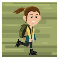Mädchen mit Inline-Skates vektor