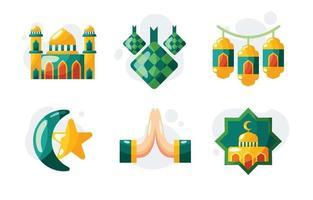 eid mubarak ikonuppsättning vektor