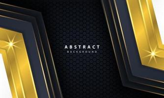 moderner goldschwarzer Hintergrund mit 3D-Überlappungsebeneneffekt.