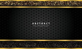abstrakter Hintergrund mit schwarzen Überlappungsebenen. Textur mit Goldlinie und Gold glitzert Punkte Elementdekoration. vektor