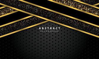 abstrakter Hintergrund mit schwarzen Überlappungsebenen. Textur mit Goldlinie und Gold glitzert Punkte Elementdekoration.