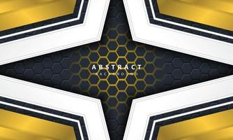 Abstrakt guld- ljus sexkantig bakgrund 3d med guld- och vitramformer.
