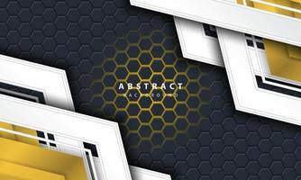 Sechseckiger Hintergrund des abstrakten Goldlichts 3d mit Gold- und Weißrahmenformen. vektor