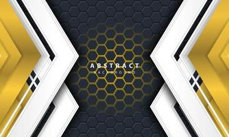 Sechseckiger Hintergrund des abstrakten Goldlichts 3d mit Gold- und Weißrahmenformen.