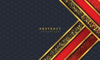 mörk abstrakt bakgrund med svarta överlappande lager. konsistens med gyllene linjen effekt element dekoration. röd bakgrundsvektor.