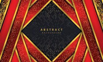 dunkler abstrakter Hintergrund mit schwarzen Überlappungsebenen. Textur mit goldener Linie Effektelement Dekoration. roter Hintergrundvektor. vektor