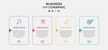 Business-Infografik-Design-Vorlagenvektor mit Symbolen und 4 vier Optionen oder Schritten. Kann für Prozessdiagramme, Präsentationen, Workflow-Layout, Banner, Flussdiagramm und Infografik verwendet werden vektor