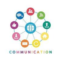 Vektorillustration eines Kommunikationskonzepts. das Wort Kommunikation mit bunten Dialog-Sprechblasen vektor