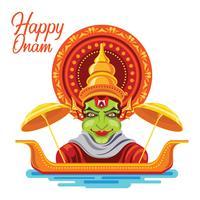 Illustration av färgglada Kathakali för Happy Onam festivalen i South India Kerala
