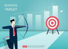 Geschäftsmann, der das Ziel mit Pfeil zielt. Mann Charakter schießt auf das Ziel. Grafik- und Diagrammsymbolhintergrund. Fokus auf Zielvektorillustration