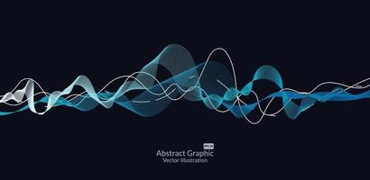 abstrakte bunte Wellenlinien auf schwarzem Hintergrund für Elemente in Konzeptgeschäftspräsentation, Broschüre, Flyer, Wissenschaft, Technologie. Vektorillustration vektor