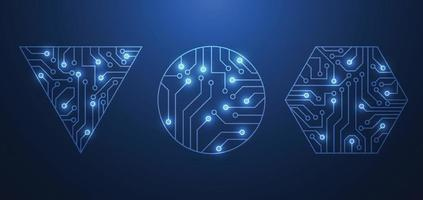 abstrakte Netzwerkverbindung. Leiterplatten-Symbol Logo-Design. Vektorillustration