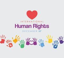 internationell mänsklig rättighetsbanner med hjärta och färgade handavtryck vektor
