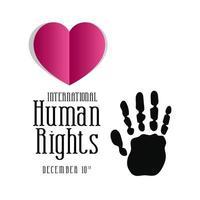internationell mänskliga rättighetsbanner med handtryck och hjärta vektor