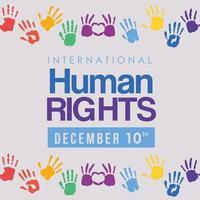 internationell mänsklig rättighetsbanner med handavtryck vektor