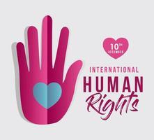 internationell mänskliga rättighetsbanner med hand och hjärta vektor