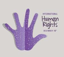 internationell mänskliga rättighetsbanner med handtryck vektor