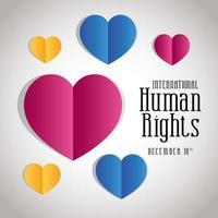 internationell mänskliga rättighetsbanner med hjärtan vektor