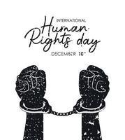 internationell mänskliga rättighetsbanner med manschettknappar vektor
