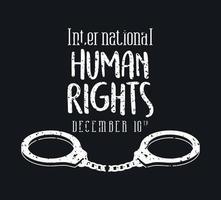 internationell mänskliga rättighetsbanner med handbojor vektor