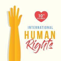 internationell mänskliga rättighetsbanner med gul hand vektor