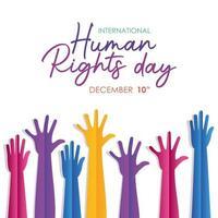 internationell mänskliga rättighetsbanner med händer vektor