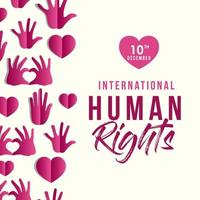 internationell mänsklig rättighetsbanner med händer och hjärtan vektor