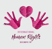 internationell mänsklig rättighetsbanner med händer och hjärta vektor