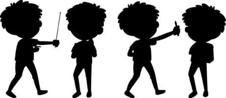 tecknad karaktär av barn silhuett på vit bakgrund vektor