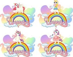 Satz verschiedene Einhorn-Zeichentrickfigur auf Regenbogen mit Einhorn-Schriftart vektor