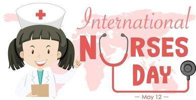 glückliche internationale Krankenschwestern-Tagesschrift mit Krankenschwester-Zeichentrickfigur vektor