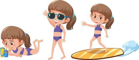 uppsättning av en tecknad flicka med olika positioner i sommartema vektor