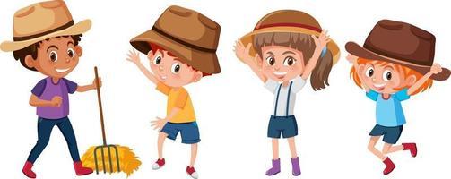Satz verschiedene Kinderkarikaturfigur auf weißem Hintergrund vektor