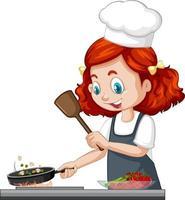 niedliche Mädchenfigur, die Kochmütze kochendes Essen trägt vektor