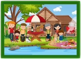 lycklig familj picknick utomhus scen foto i en ram vektor
