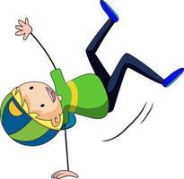 glücklicher Junge genießen tanzende Gekritzel-Zeichentrickfigur vektor