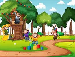lekplats scen med många små apor seriefigur vektor