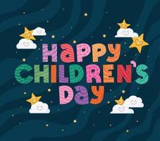 glücklicher Kindertag mit Sternen und Wolken Vektorentwurf vektor