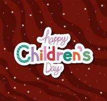 glücklicher Kindertag mit Sternenvektorentwurf vektor
