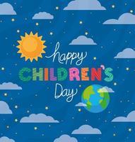 glücklicher Kindertag mit Vektorentwurf der Sonne, der Welt und der Wolken vektor