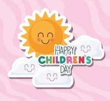 glücklicher Kindertag mit Sonne und Wolken Vektorentwurf vektor