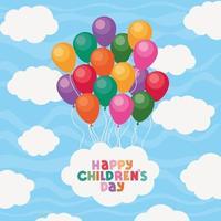 glücklicher Kindertag mit Luftballons und Wolkenvektorentwurf vektor