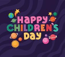 glücklicher Kindertag mit Raumikonenvektorentwurf vektor
