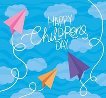 glücklicher Kindertag mit Papierflugzeugen und Wolkenvektorentwurf vektor