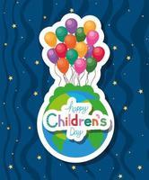 glücklicher Kindertag mit Welt- und Ballonvektorentwurf vektor