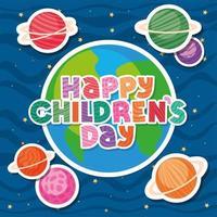 glücklicher Kindertag mit Welt- und Planetenvektorentwurf vektor