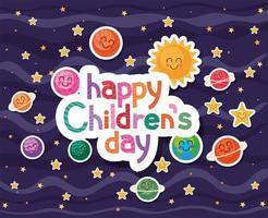 glücklicher Kindertag mit Raumkarikaturenikonen-Vektorentwurf vektor